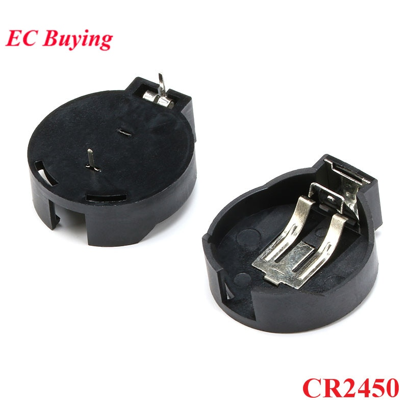 10 Uds CR2450 2450 caja de batería negra de 2 pines con botón de pila