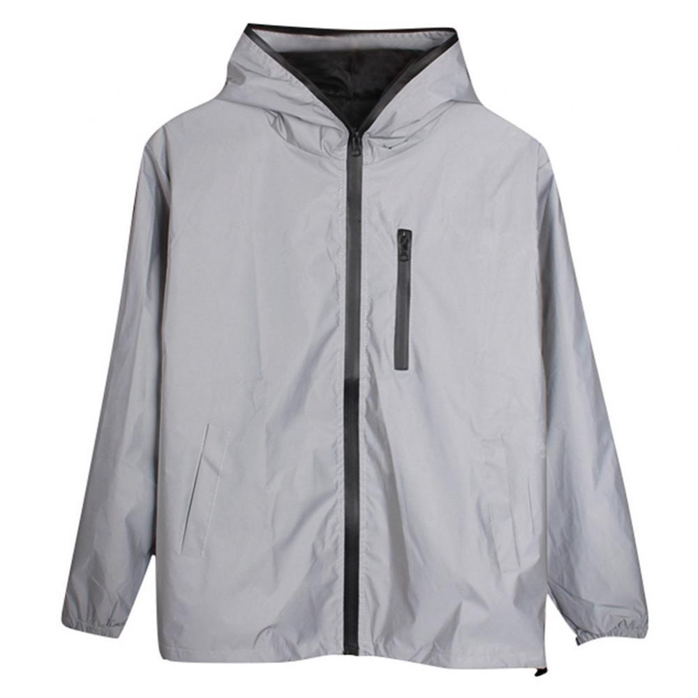Горячая Распродажа, унисекс, с длинными рукавами, на молнии, светоотражающий жилет с капюшоном и защитой от ветра пальто Штормовка Для Мужчин