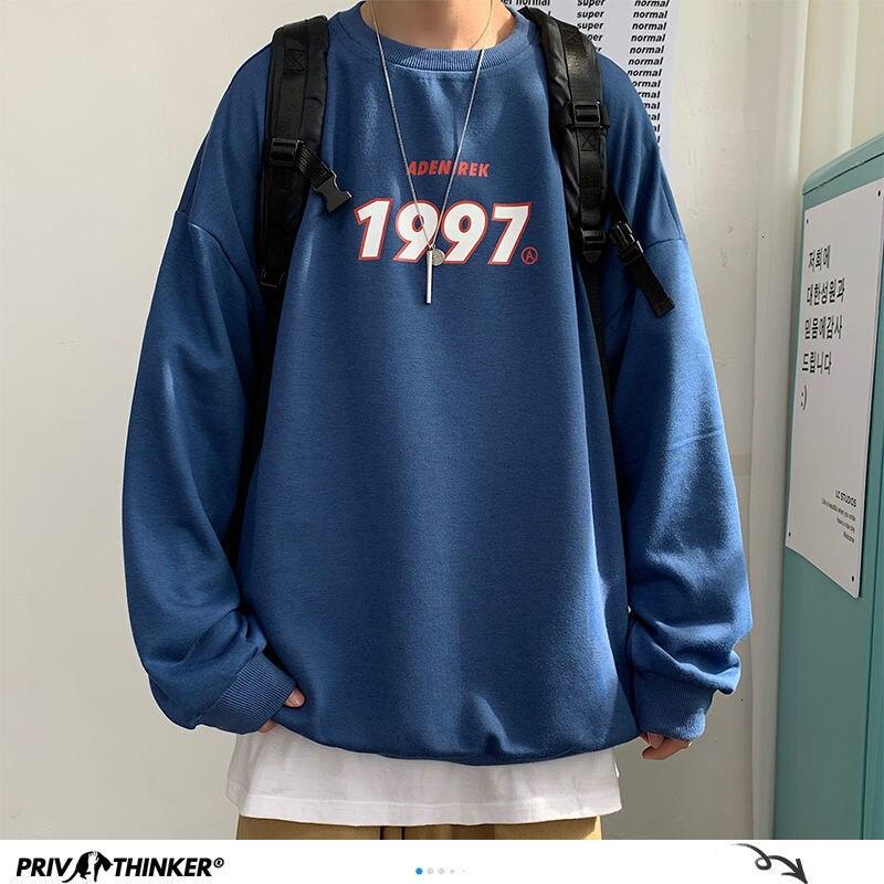Privathinker весенние мужские повседневные толстовки Harajuku 1997 печатных для мужчин больших размеров толстовки 2021 в Корейском стиле мужские повсед...