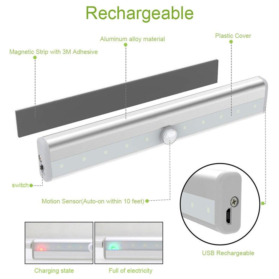 Usb recarregável 10 luzes led pir sensor de movimento lâmpada luz do armário sob iluminação do armário contador magnético vara-na luz da noite