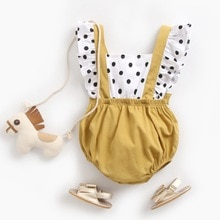 Yg brand children's wear 2021 summer new round dot baby strap Jumpsuit cotton triangle short climbin