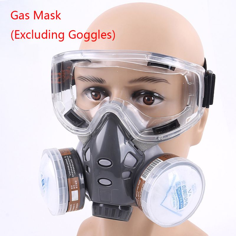 1PC 308 Half Face Respirator Dust Gas Mask for Painting Spray Pesticide Chemical Smoke Fire Protection With/Excluding Goggles