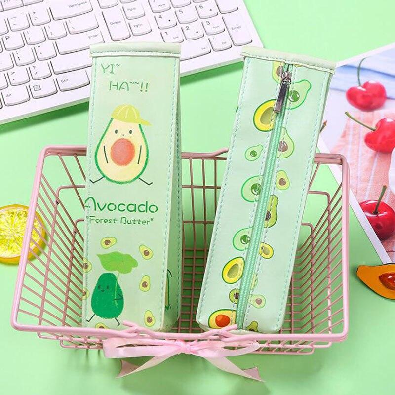 1 unidad de estuche de lápiz lindo de aguacate de leche para niñas, bolsa de lápiz Kawaii, bolsa de papelería, bolsa promocional de material escolar lápiz