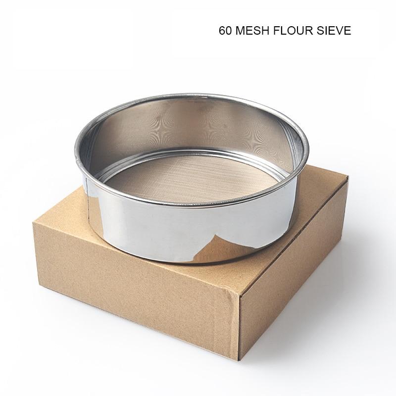Tamiz de harina 60 malla diámetro 15cm Acero inoxidable tamiz de mano harina malla azúcar polvo tamizadores colador cocina herramienta para hornear