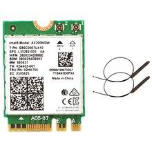 Double bande 2.4Gbps Wi-Fi 6 AX200NGW 802.11Ax/Ac MU-MIMO 2X2 Wifi AX200 NGFF M.2 Bluetooth 5.0 carte réseau Wlan + antenne