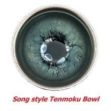 Jianzhan bols à thé japonais   Bol Matcha, tasse de thé Tenmoku glaçure à motif de goutte dhuile bleue