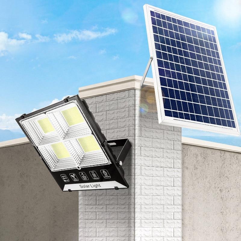 180/200/300/400/500W LED الشمسية ضوء في الهواء الطلق IP65 للماء أربعة جانب الخلايا الشمسية الكاشف حديقة شارع الممر جدار مصباح