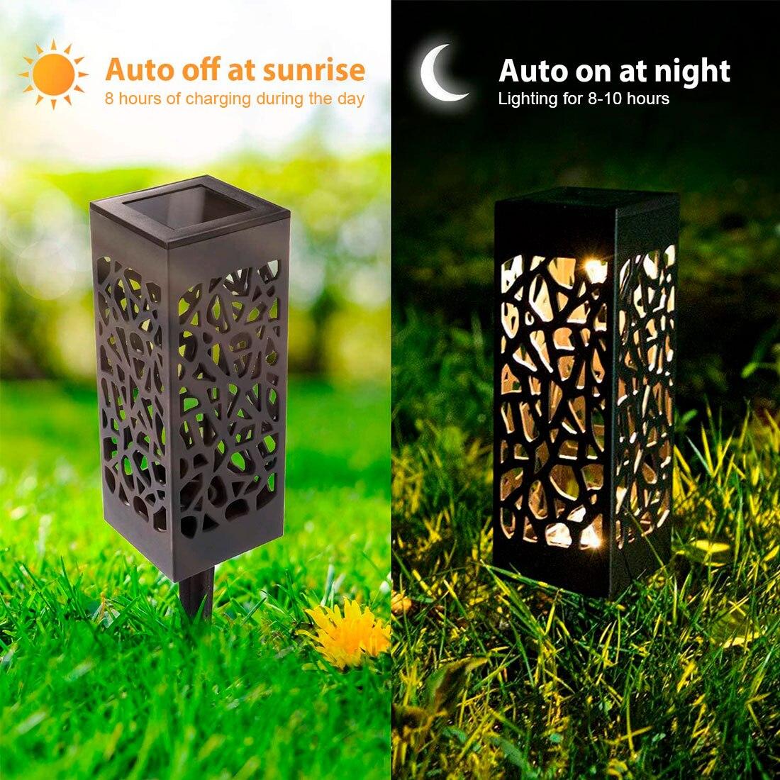 Декоративный садовый светильник на солнечной батарее, полый садовый фонарь для газона, уличное освещение, водонепроницаемый садовый свето...