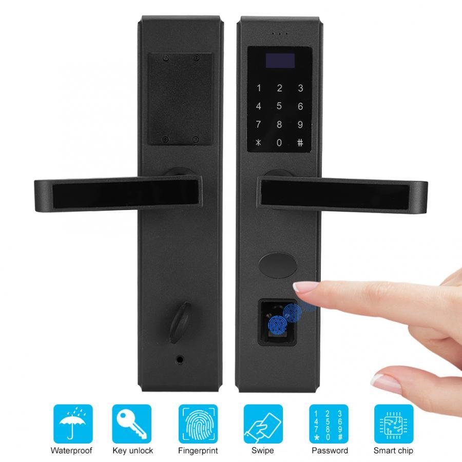 Fechadura da impressão digital fechadura da porta do punho eletrônico senha ic cartão mecânico chave biométrica acesso à entrada de impressão digital