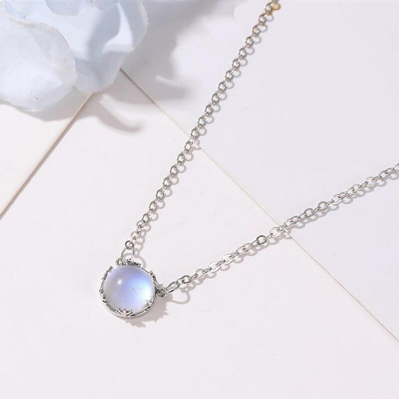 Fashion Aurora Gradient Pendant Necklace Halo Crystal Silver Color Scale Light Necklace For Women El