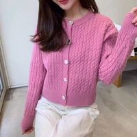 cardigan knitted sweater women 2021 new spring autumn solid fashion clothing sweet girl button casual sweaters h104
