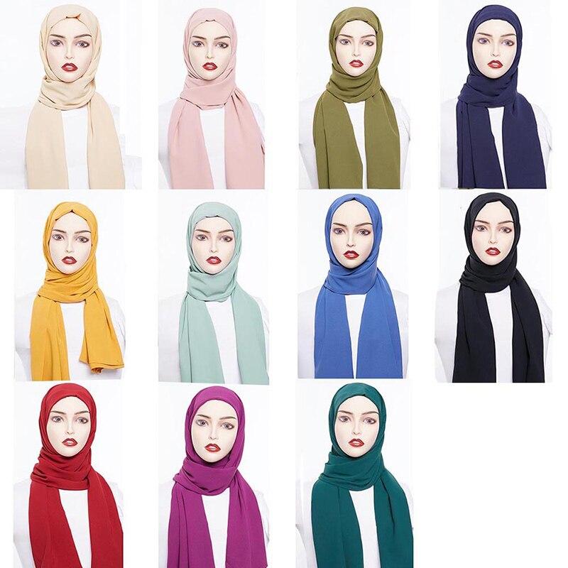 Abaya Color sólido gasa bufanda de hijab musulmana Hijabs turbantes para mujeres Jilbab Hoofddoek Moslima pañuelo para la cabeza Foulard mujer musulmana