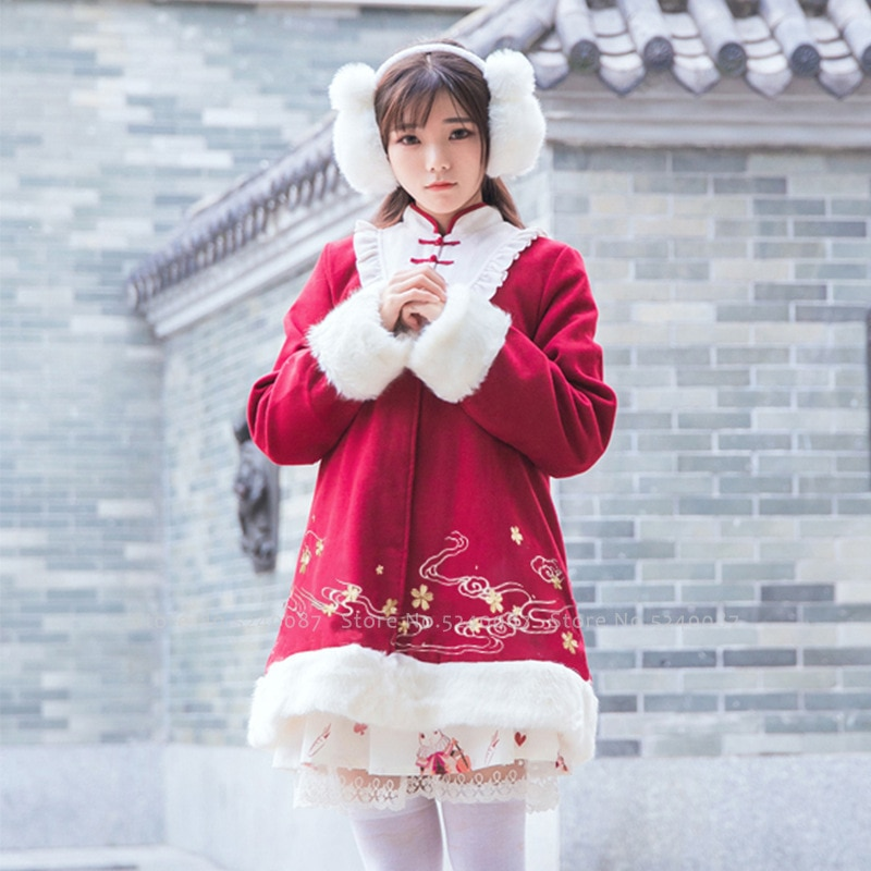 Ano novo chinês feminino tradicional qipao tang terno casacos de inverno meninas cheongsam chá festa de casamento vestido princesa cosplay traje