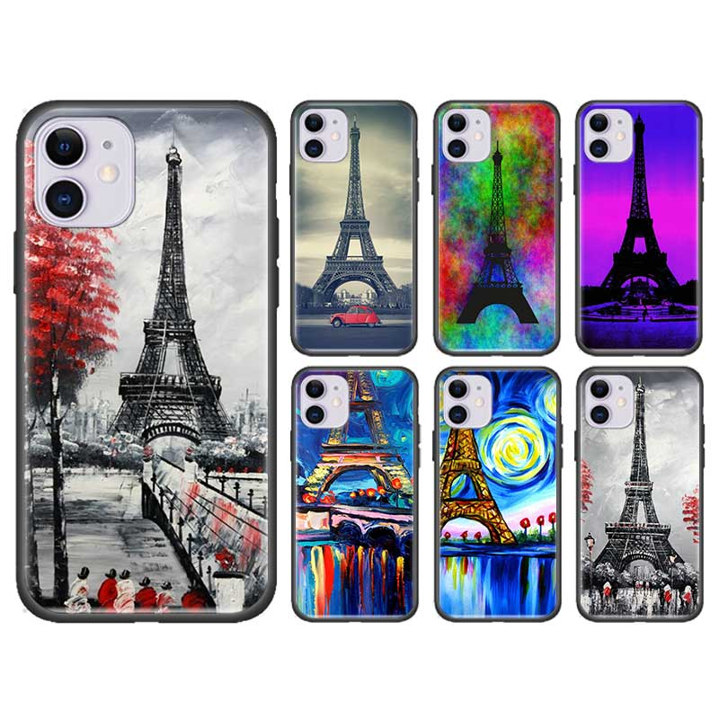 Paris torre eiffel capa para apple iphone 11 7 8 xs max x xr 6s plus 5 5S se 2020 capa de silicone preto