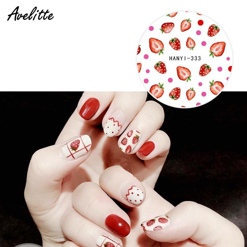 Avelitte nuevo Pastel suave belleza Red rojo limón fruta aguacate Ultra delgado adhesivo uñas pegatinas DIY uñas