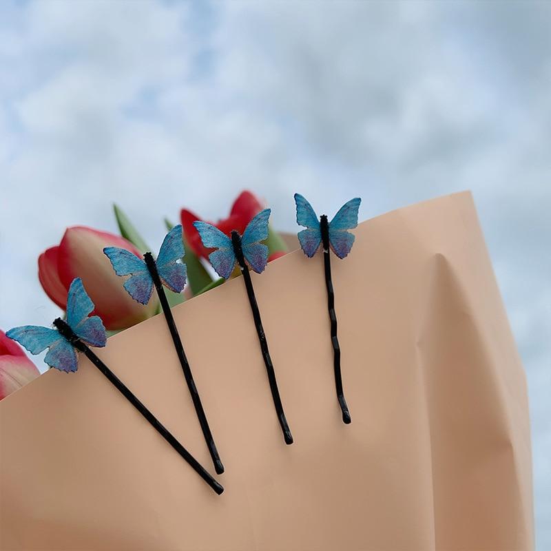 4 pçs/set borboleta azul do vintage pinos de cabelo slides doce bobby pinos para meninas adolescentes estudantes faculdade grampo de cabelo escola apertos de cabelo