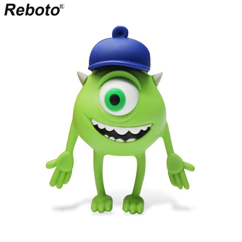 Cute Cyclops Memory Stick Big Smile Green Monster Pendrive cel usb flash Pen Drive 32GB USB Flash USB Stick for Children's Gift