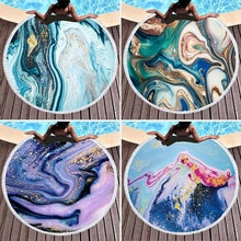 Round Extra-large Color Quicksand Geometric Marble Beach Towel Outdoor Sun Shading Shawl Beach Towel