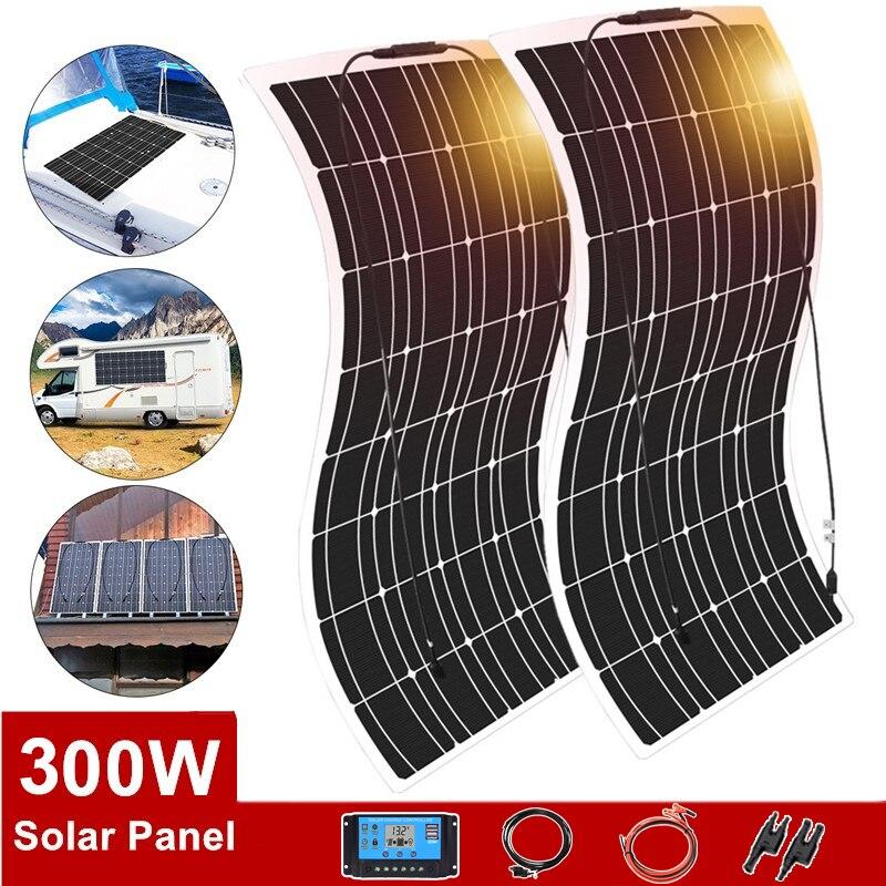 لوحة شمسية مقاومة للماء مع العاكس ، طقم شاحن بطارية 12 فولت ، 300 واط ، للسيارة ، القارب ، اليخت ، العربة ، سقف المنزل ، 110 فولت/220 فولت ، 1000 واط