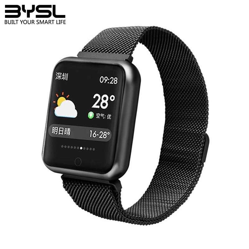 Bysl p68 relógio inteligente ip68 aptidão pulseira atividade rastreador monitor de freqüência cardíaca smartwatch para iphone android pk iwo 8 w54 relógio