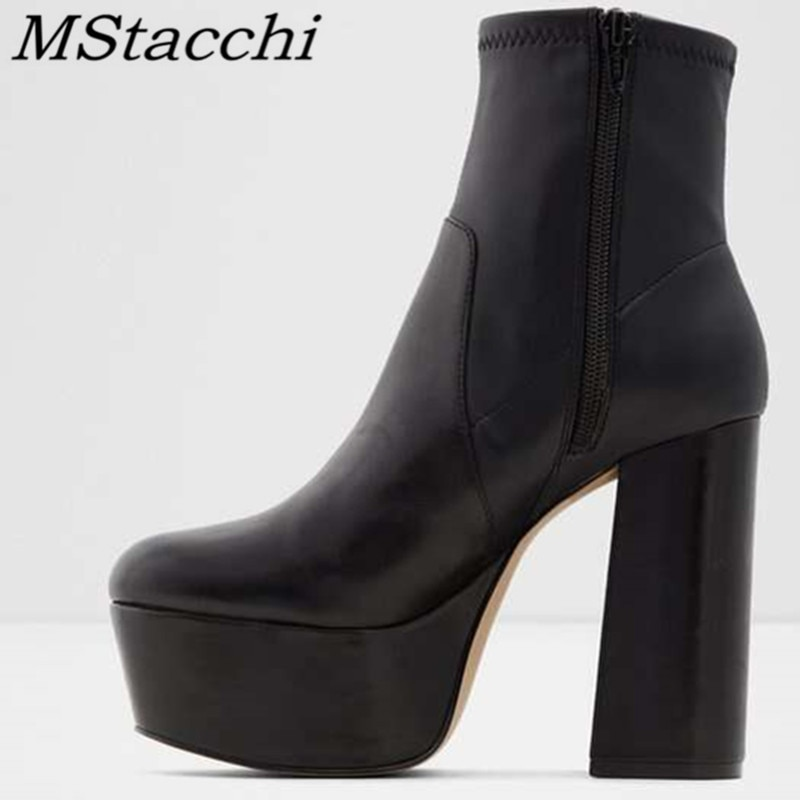 Botas de moda para mujer de tacón grueso MStacchi, botas de fondo grueso negras con punta en pico y cremallera, botines de mujer sexis de piel de serpiente para fiesta