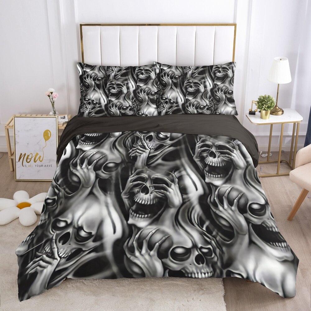 الجمجمة ديدبول حاف مجموعة غطاء 240x220 200x200 طقم سرير التوأم الملكة الملك مزدوجة بياضات سرير غطاء لحاف المفارش رمادي رئيس