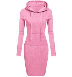 Fashion winter women's dresses Mid-length Casual sweatshirt Hooded 9 colors