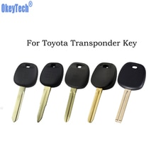 OkeyTech-coque de clé pour transpondeur Toyota   Pour Rav4 Prado Corolla Camry Yaris Corolla, lame vierge non coupée, boîtier porte-clés sans Logo