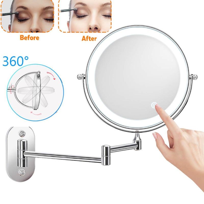 8 بوصة الحائط مرآة المكياج المزودة بمصباح ليد 10X مكبرة اللمس مشرق قابل للتعديل الحمام مرايا الحائط مزدوجة الوجهين المرآة البالونية