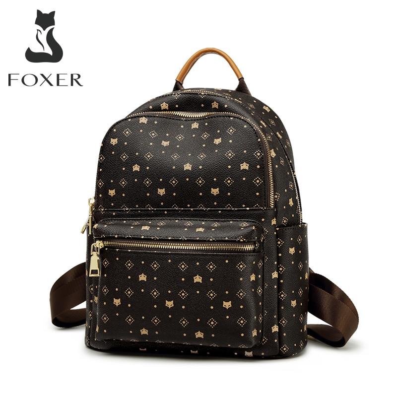 FOXER-حقيبة ظهر نسائية بطبعة PVC ، حقيبة سفر ، حقيبة كمبيوتر محمول ، مونوغرام ريترو ، أعمال