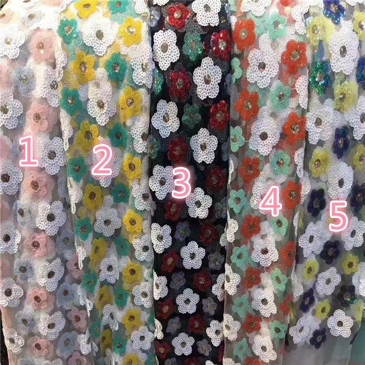 Parte inferior de malla brillante zhu pian xiu hua mian liao ropa de mujer vestido de niños vestido de boda bordado tela