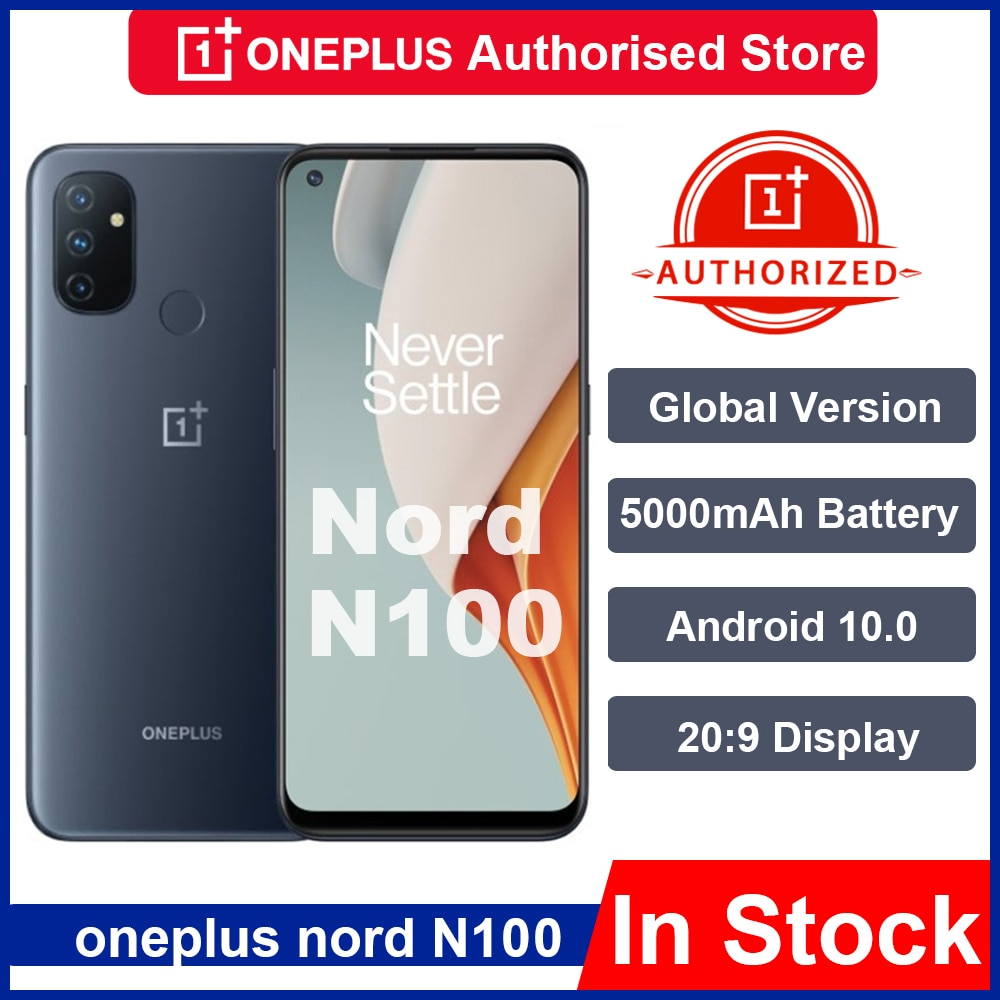 Global Rom Oneplus Nord N100 4GB 64GB Smartphone Snapdragon 460 5000mAh Android 10 13MP Triple Cams