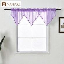 NAPEARL-Voile de rideau en Tulle   Nouveau Design, décor de maison, couleur unie, perles, Voile pour cuisine chambre à coucher, fenêtres modernes courtes 1 pièce
