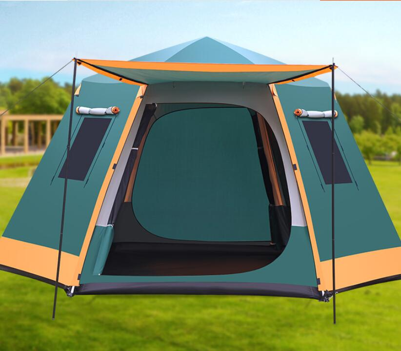 Outdoor fully automatic tent 3-4-5-6-8 people camping double thickened anti rainstorm camping barbecue tent
