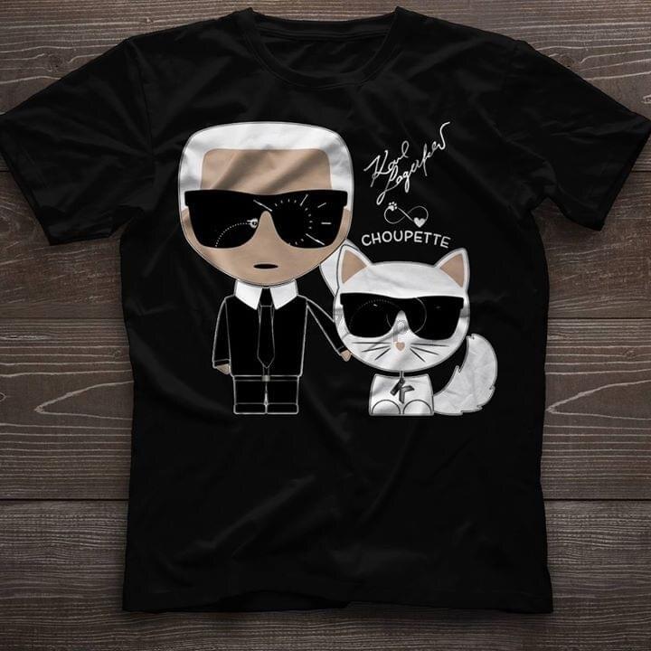 Harajuku Streetwear Camiseta Hombre y gato blanco Choupette Ikonik camiseta