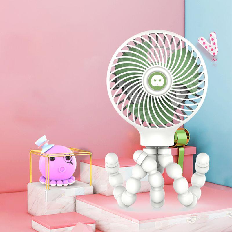 Mini ventilador portátil para cochecito de 2000mAh ventilador para bebé con trípode Flexible se puede envolver en cochecito/asiento de coche/cama de Estudiante