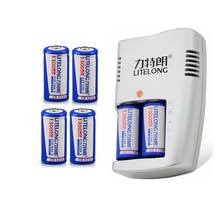6PCS Große kapazität 1300mAh 3V CR123A akku LiFePO4 16340 lithium-batterie + 1PCS CR123a smart ladegerät