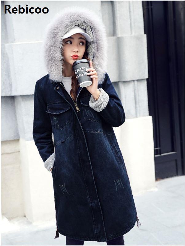 Autumn Winter New  Women Lambs Wool Jean Coat Turn-down Collar Long Sleeves Warm Jeans Coat Outwear Wide Denim Jackets