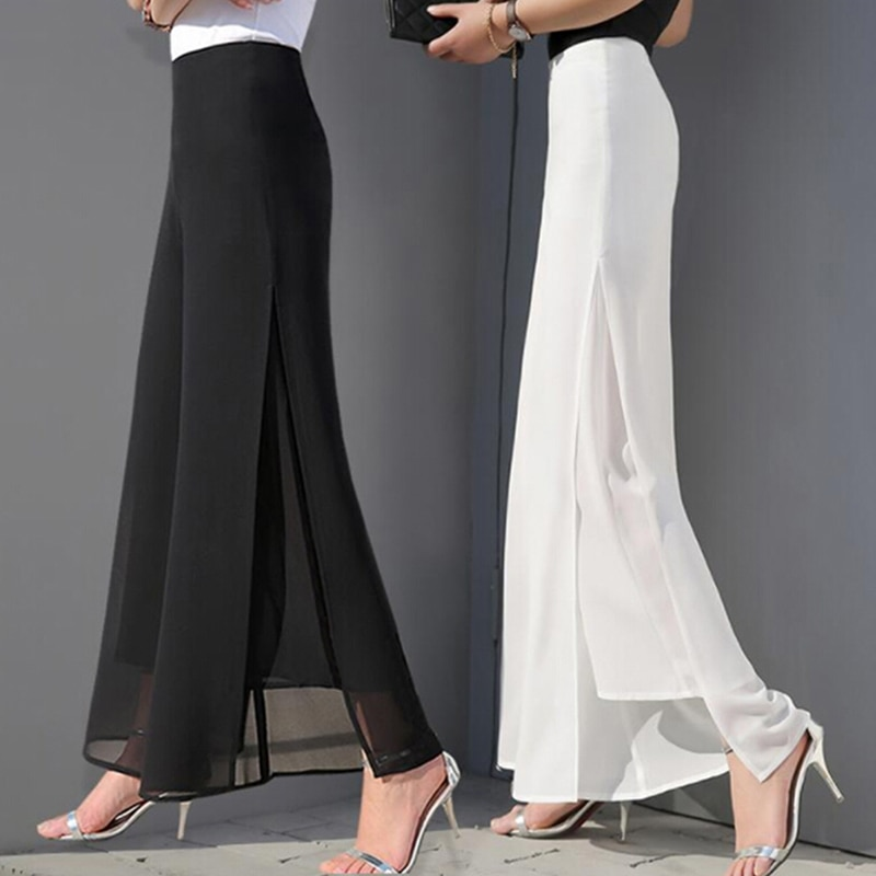 Summer Autumn Women Chiffon Wide-leg Pants High Waist Full Length Pants Female Fashion Loose Split Chiffon Pants mujer