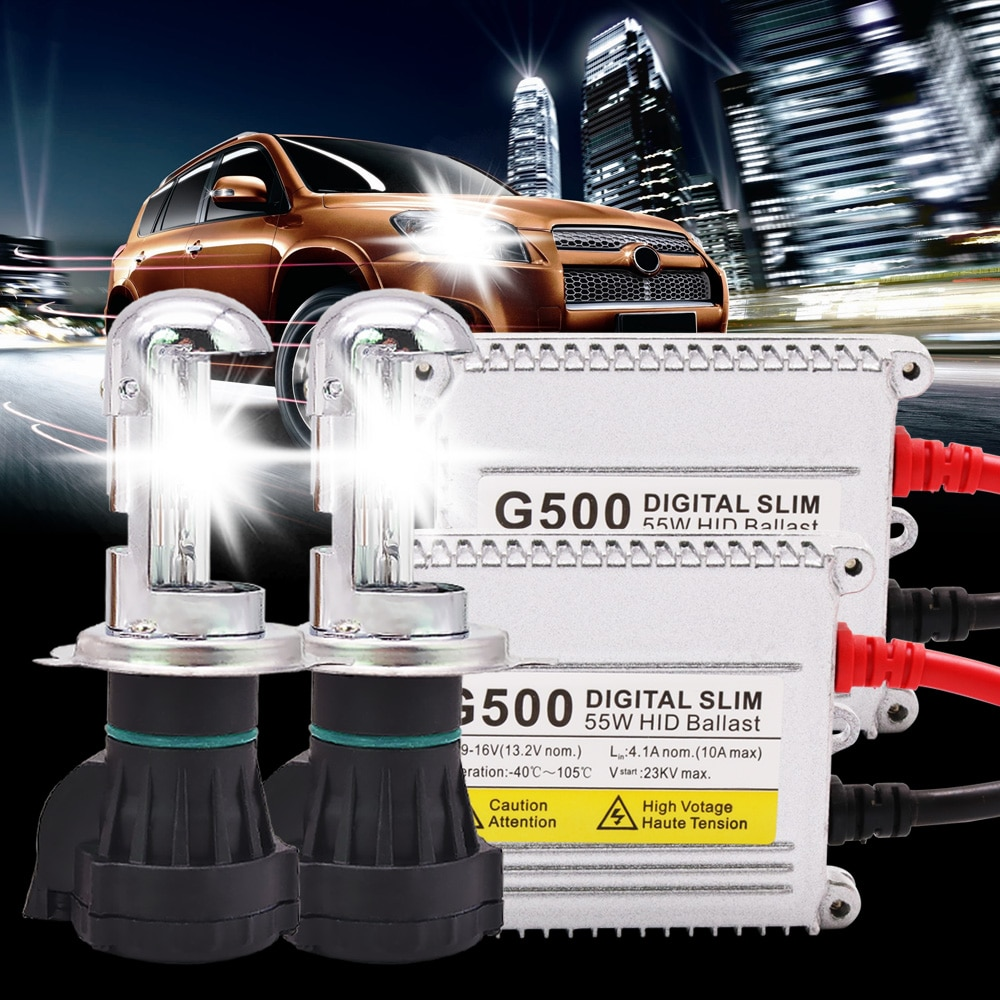 Un conjunto de lámpara de xenón H4 AC 55W H4 Bi lámpara de xenón G500 Silm Kit de balasto Digital 4300k 5000k kit HID de 6000k 8000k para bombillas de coche