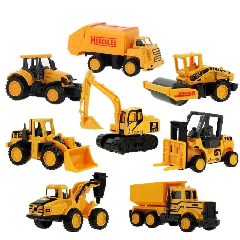 ChildrenS juguete Mini Aleación de vehículo de ingeniería excavadora de modelo de coche de aleación de vehículo de ingeniería modelo 8 Uds