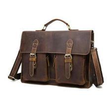 Porte-documents daffaires en cuir véritable pour hommes, Design Antique, porte-documents pour ordinateur portable, Attache de mode, sac de messager, fourre-tout