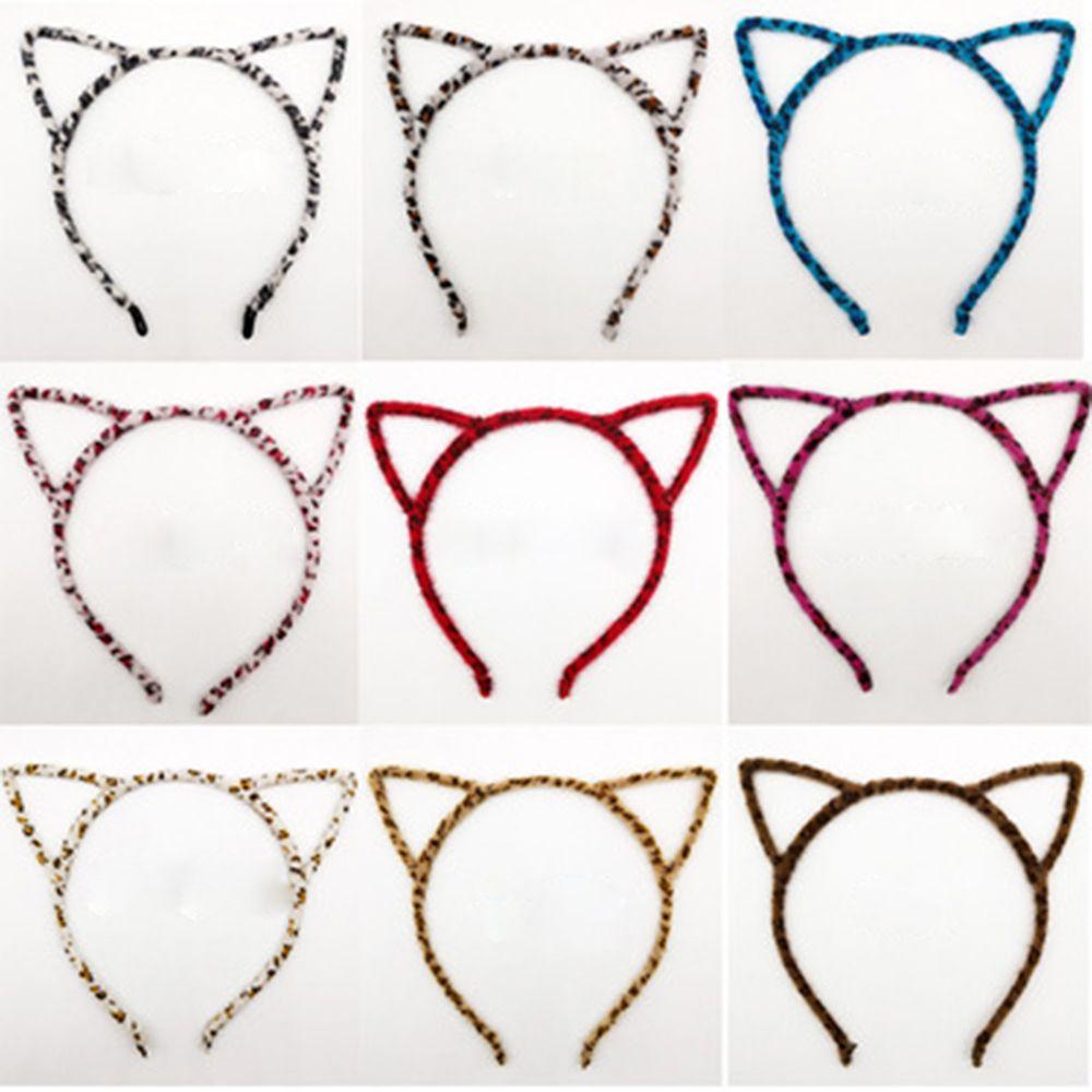 Fashion Women Cute Cat Kitty Kitten Ears Metal Headband Velvet Leopard Hair Band Cosplay Party Gift Free Shipping