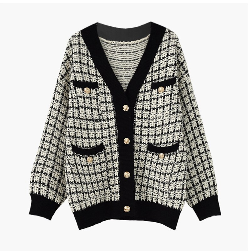 Женский однобортный свитер в клетку Свободный кардиган с длинными рукавами и