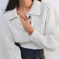 2021 white vintage wrist striped lapel long sleeve knitting sweater french style pullover knitwear autumn women jumper knitwear