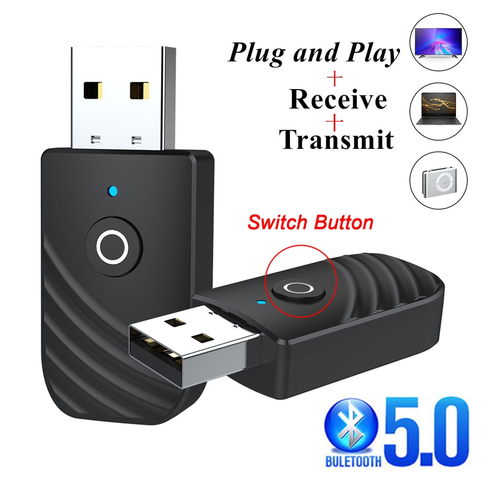 Adaptador USB inalámbrico con Bluetooth 5,0 3 en 1 de Audio transmisor...