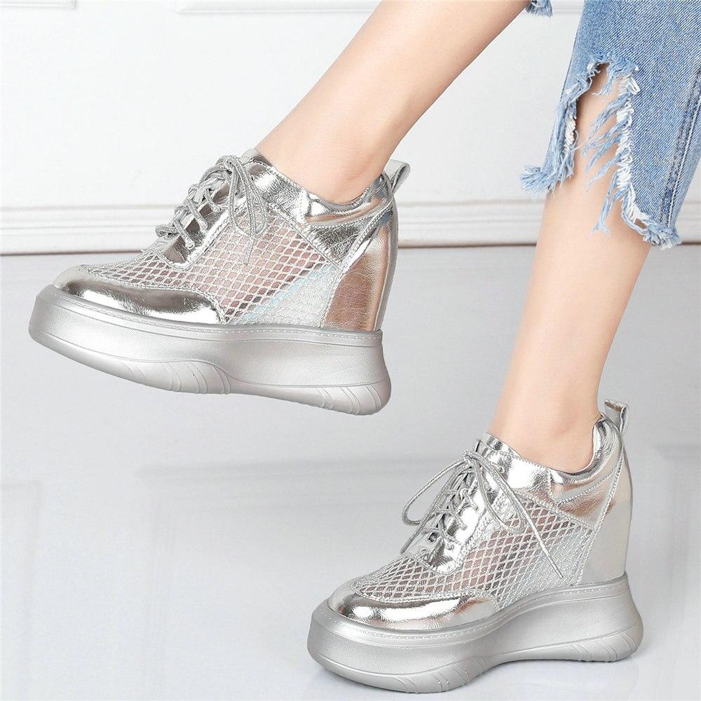 Rendas até Cunhas de Couro Bombas de Salto Dedo do pé Punk Oxfords Sapatos Femininos Genuíno Alto Respirável Malha Redondo Moda Tênis