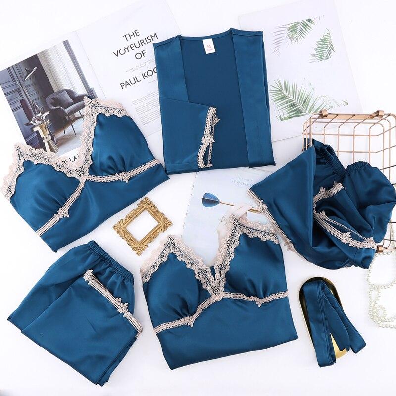5 قطعة ملابس نوم حريمي مثيرة pjs أطقم رداء بيجاما دانتيل ملابس منزلية قماشية ملابس النوم الصلبة صالة بيجاما مع وسادة صدر بيجاما