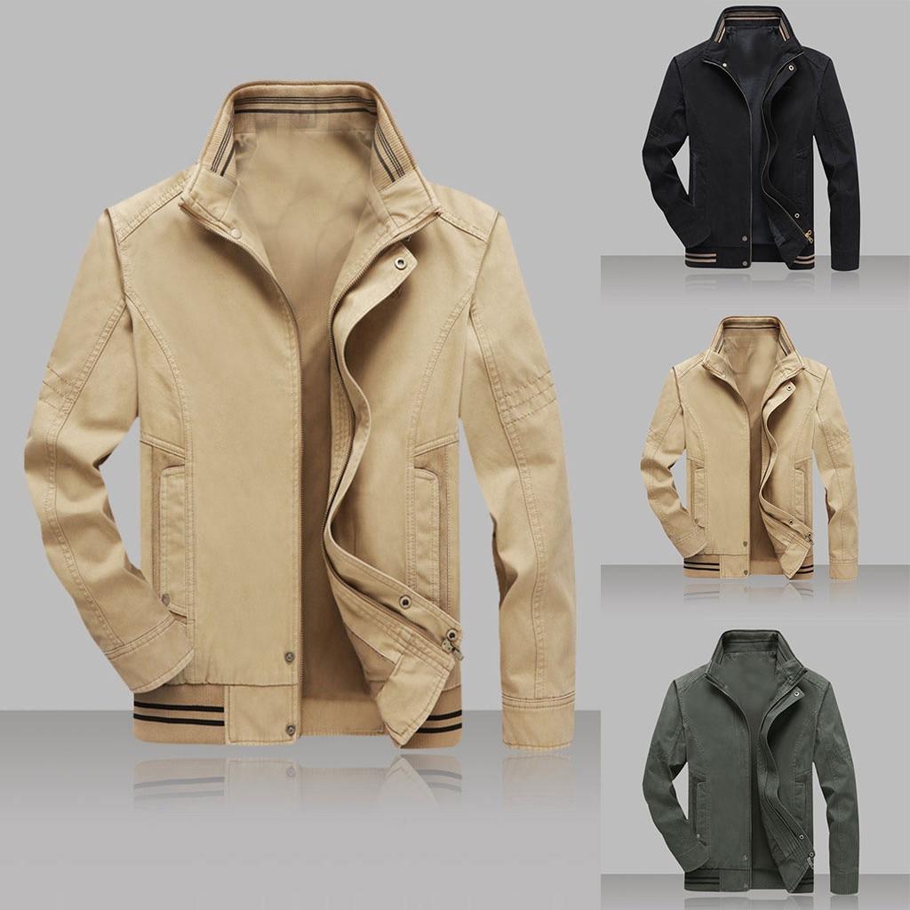 2019 caliente de otoño de los hombres de moda Casual Color puro Patchwork chaqueta cremallera Outwear abrigo Dropshipping. Exclusivo. Descuento envío gratis