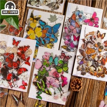Mr.paper 8 Designs 30Pcs/lot Victoria's Butterfly Garden Series Butterfly Decor Stickers Scrapbooking Hand Account DIY Material